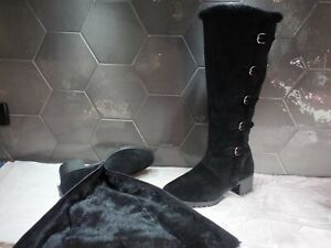 11  42 AEROSOLES comfort fur lined buckle wide calf women's black boots knee