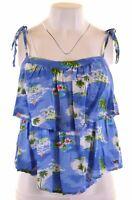 HOLLISTER Womens Vest Top Size 12 Medium Multi Floral Cotton  GP11