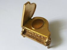 Avon Solid Perfume Compact Piano 1970' Vintage Gold Tone Full