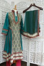 Taupe/teal Churidaar Kameez frock Punjabi Indian suit  UK 12/ EU 38 – SKU15814