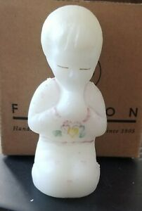 Fenton Art Glass Praying Girl Satin White Hand Painted Hearts