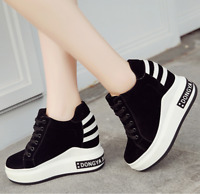 Womens Lace Up Sneakers Platform Shoes Running Hidden High Wedge Heels Casual