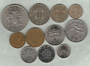 11 JAMAICA COINS 1893 TO 2008 IN GOOD FINE TO NEAR MINT CONDITION.