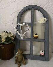 Fenster Deko Fensterrahmen Rundbogenfenster Brocante Holz grau Shabby 49cm