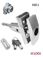LOT OF 2 T Handle Vending + Pop up Tubular Lock + nut Triple Start rod SIZE 2
