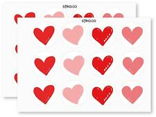 Pack of 24 Hearts  paper labels, Valentine Adhesive Stickers