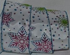 """Wired Ribbon~Christmas Pink Sparkle Snowflake~2.5""""~Blue~White~Wreath~Holiday~Bow"""