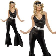 Ladies 70s Diva Disco Black Catsuit Flares Womens Fancy Dress Costume Small