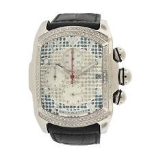 Aqua Master Mens Diamond Watch Bubble Case 1.25ctw Black Leather Strap Blue