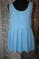 LC Lauren Conrad Light Blue Sleeveless Tunic Lace Trim Blouse Sz XS