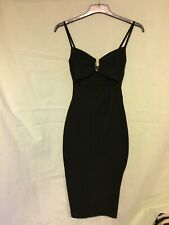 Boohoo Black Bodycon Cut Out Dress With Gold Embelishment 10(140)