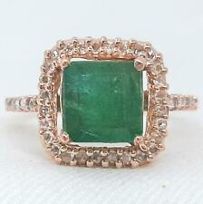 Genuine 2.44ctw Columbian Emerald & H-SI Diamond 14K Rose Gold Ring Size 7.25 4g