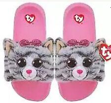 TY Fashion Pool Slides  Slippers KIKI the Cat Kid's Size Medium 1-3 Fur Soft