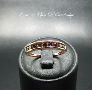9K gold 9ct Gold Red Diamond Band Ring Size P 1.85g 0.5ct with Certificate