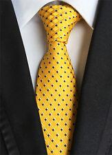 New Classic Polka Dot Yellow Blue JACQUARD WOVEN 100% Silk Men's Tie Necktie