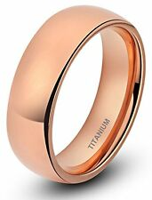 Rose Gold 6mm Ring # 10 High Polished Plain Dome Solid Titanium