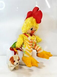 Vintage Rushton Star Creation Rooster Chicken Rubber Face Plush + Japan Dog #11