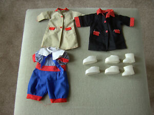 VINTAGE DOLL BUNDLE 5 SMALL BABY TODDLER DOLL CLOTHES AND SHOES.