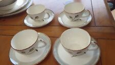 Vintage Harvest Oats Blue Ridge Southern Pottery cup and saucer sets 4 cups 4 sa
