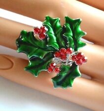 Christmas Holly Ring w Red Crystal Berries on Silver-tone Stretch Linked Band