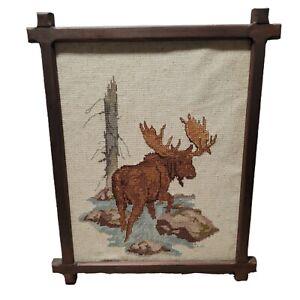 Vintage Framed Needlepoint Thread Moose Antlers Brown Wooden Frame Signed River