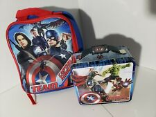 Marvel Avenger Tin Box And Captain America Team Soft lunch Box