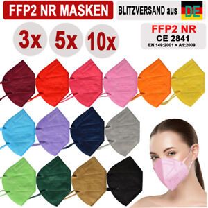 🔷🔶3 / 5 /10x FFP2 Masken Bunte Color Farbige Maske ZERTIFIKAT Farbig 14 Farben