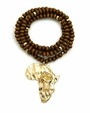 """NEW BROWN AFRICA MAP FIST  (AFRICAN POWER UNITY)  6mm  30"""" WOODEN BEAD NECKLACE"""