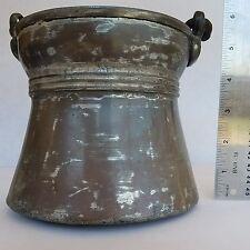 Wrought Anatolian Style Copper Bottom Bucket Cauldron Solid Brass Handle Holders
