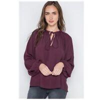 Burgundy Top Shirt Blouse Long Sleeve Tie Neck Front Womens Medium NWT