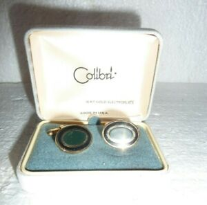 NOS Colibri Mens Cufflinks 18 KT Gold Electroplate in Box   S-21