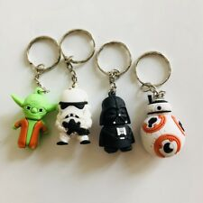 4pcs star wars yoda Darth Vader silica gel key chain pendant key chains figure