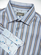 TED BAKER MENS 4 LARGE FRENCH CUFF DRESS SHIRT FLORAL STYLISH BLUE BROWN STRIPE