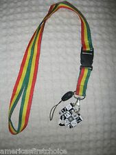 "Rasta Green,Yellow,& Red Stripes 15"" Lanyard ID Holder Keychain-Brand New!"