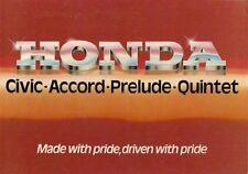 Honda 1981-82 UK Market Foldout Sales Brochure Prelude Accord Quintet Civic