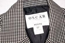 OSCAR DELA RENTA SUIT Wool 8P Womens Work Dress Black White 8 Blazer Pants