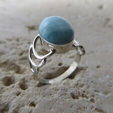 Size 8, Size P 1/2, Size 57 Natural Blue LARIMARRing, 925 Sterling Silver #0103
