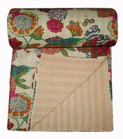 Indian Cotton Kantha Bed Sheet Throw Bed Cover Bedspread Blanket Gudri King Size