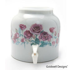 Goldwell Designs Porcelain Ceramic Water Dispenser Crock - Red Roses DD370