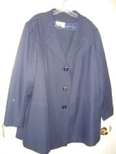 Roaman's Navy Blue Polyester Jacket/Blazer/Skirt Lined Career Suit 28/30W EUC MN