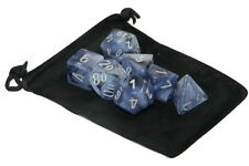 New Chessex Polyhedral Dice Set with Bag Black w/ Silver Phantom 7 Piece Set