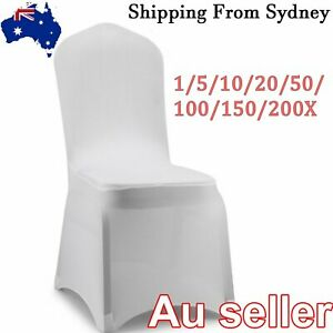 1-200X White Chair Covers Full Seat Cover Spandex Stretch Banquet Wedding Party