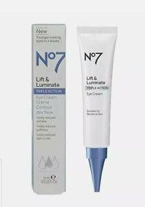 No7 Lift & Luminate TRIPLE ACTION Eye Cream 0.5oz. (15ml) - New - Free Shipping