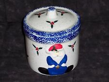 Ceramic crock Christmas Candle w lid,Santa,country,Vanilla scented gift candle