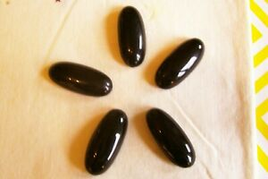 5 beautiful large 'oval' vintage black glass buttons/brass box shanks 35 mm long