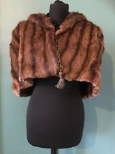 Womens Real Fur Cape Vintage Brown Musquash Stole Opera Evening