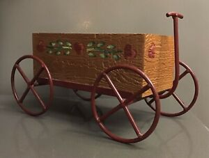 """Rustic Red Wooden Country Wagon Decorative Garden Statue Planter - 13"""" x 7"""""""