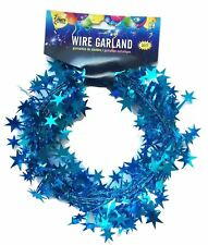 Skd 25 ft Star Shaped Tinsel Wire Garland (Sky Blue)