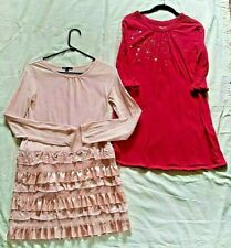 Lot of 2 Pink Girls Dresses Clothes Gap Old Navy Long Sleeve Size 14/16 Sequins
