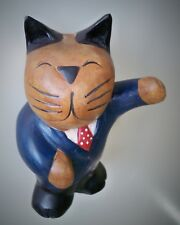"""Antique (Early 1900's) Solid Oak Campaign Cat in Teddy Roosevelt Posture, 7 x 5"""""""